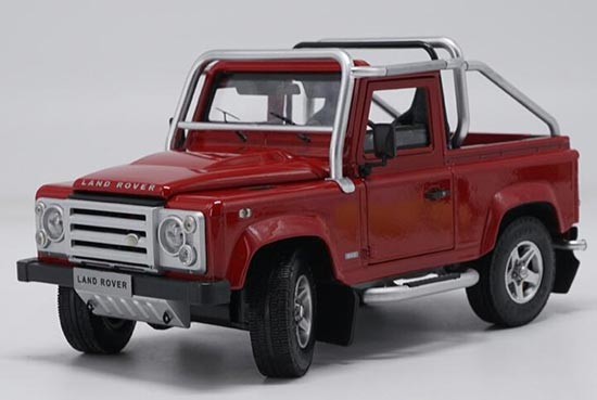 Diecast Land Rover Defender SVX Model Red / White 1:18 Scale