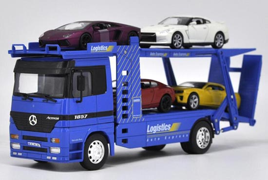 Diecast Mercedes Benz Actros Car Carrier Toy Red /Blue By Welly